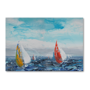 two sailing boats, one with yellow and white sail and red and white sails on choppy blue seas with light blue skies and white clouds