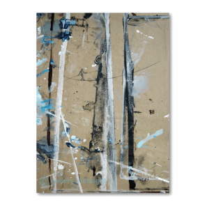 Mix of oil, acrylic and charcoal of abstract image with a tightrope walker