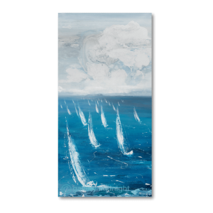 Multiple sailing boats with white sails on blue choppy waters with white and grey clouds stirring in the background