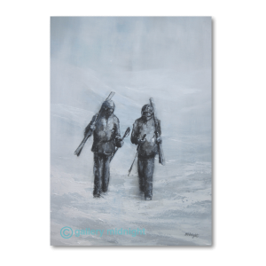 Two skiers walking carrying their skis after a full day skiing. Whiteout conditions.