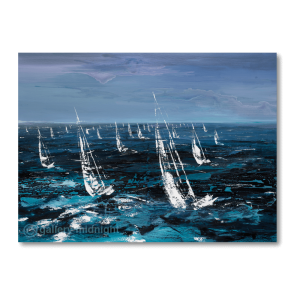 White multiple sailing boats as far as you can see on blue choppy waters