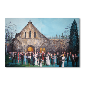 Wedding scene of bride, groom and guests with no faces and church in the background