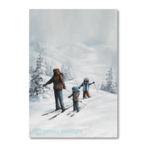 Adult and two children on skiing off piste with with powder track of skis behind them surounded by snow covered fir trees