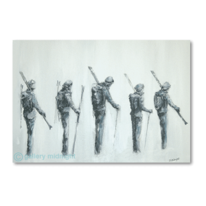 Black and white picture of the backs of five skiers carrying skis at the end of a long day skiing