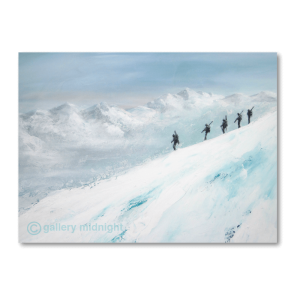 Five skiers walking down narrow ridge of mountain carrying skis. White mountain range in the distance