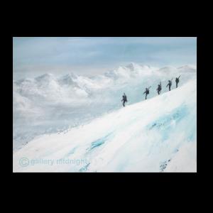 Five skiers walking down narrow ridge of mountain carrying skis. White mountain range in the distance