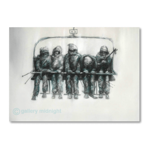 Close up Black and white charcoal drawing of five skiers on chairlift with one person head down looking for something
