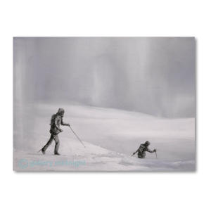 Two cross country skiers trekking across great white slopes in white out conditions