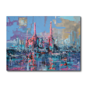 Painting of Battersea power station in abstract form with 3 chimneys in pinks and blues