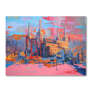 Absctract painting of Battersa Power STation in pink and orange colours