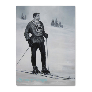 Picture of skier in black and white wearing old fashioned lace up ski boots and no 148 competition vest