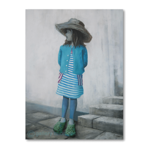 Girl in blue stripes dress and blue cardigan with straw hat on steps