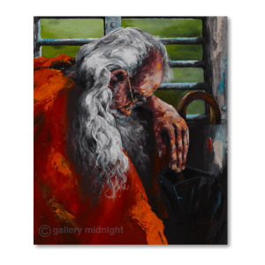 Portrait of old man with white hair and beard and red coat looks like santa clause with heard resting