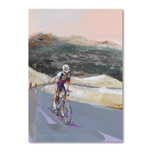 Professional road cyclist going up mountain
