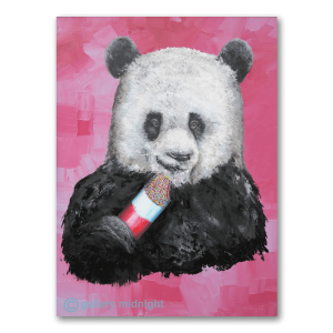Panda eating ice cream